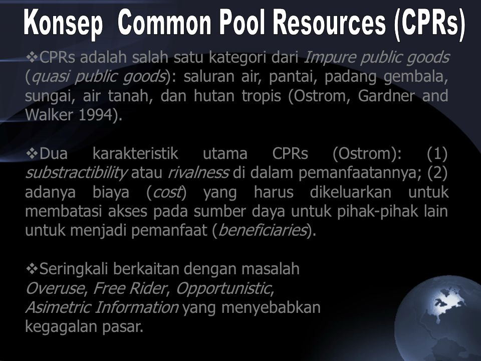 Konsep Common Pool Resources (CPRs)