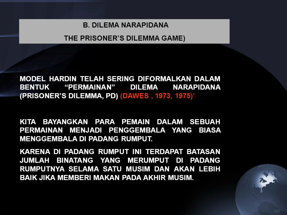 THE PRISONER'S DILEMMA GAME)