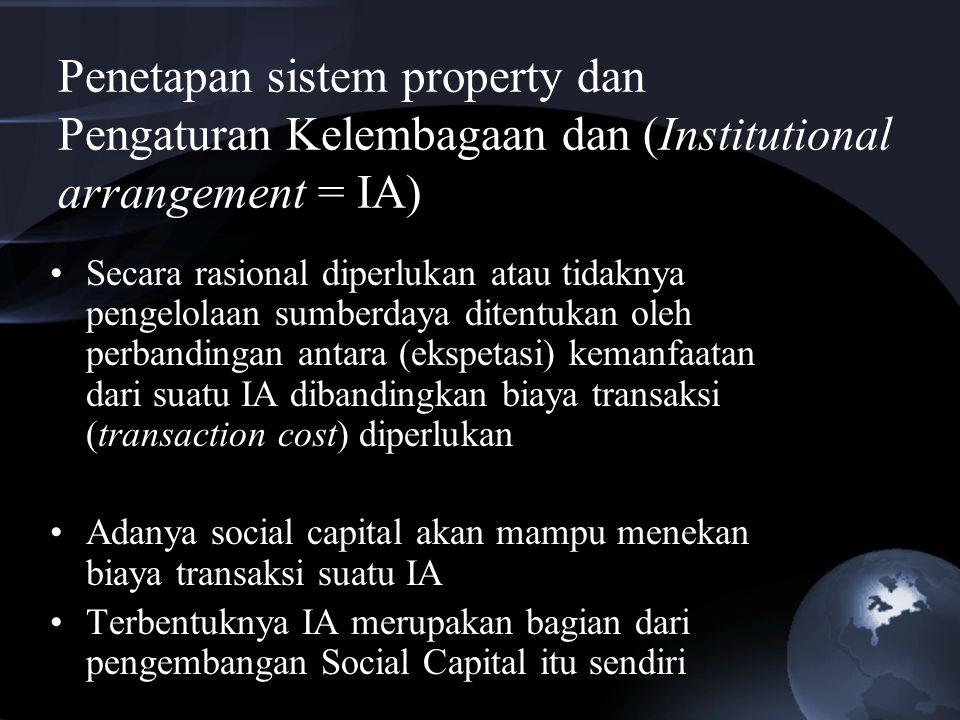 Penetapan sistem property dan Pengaturan Kelembagaan dan (Institutional arrangement = IA)