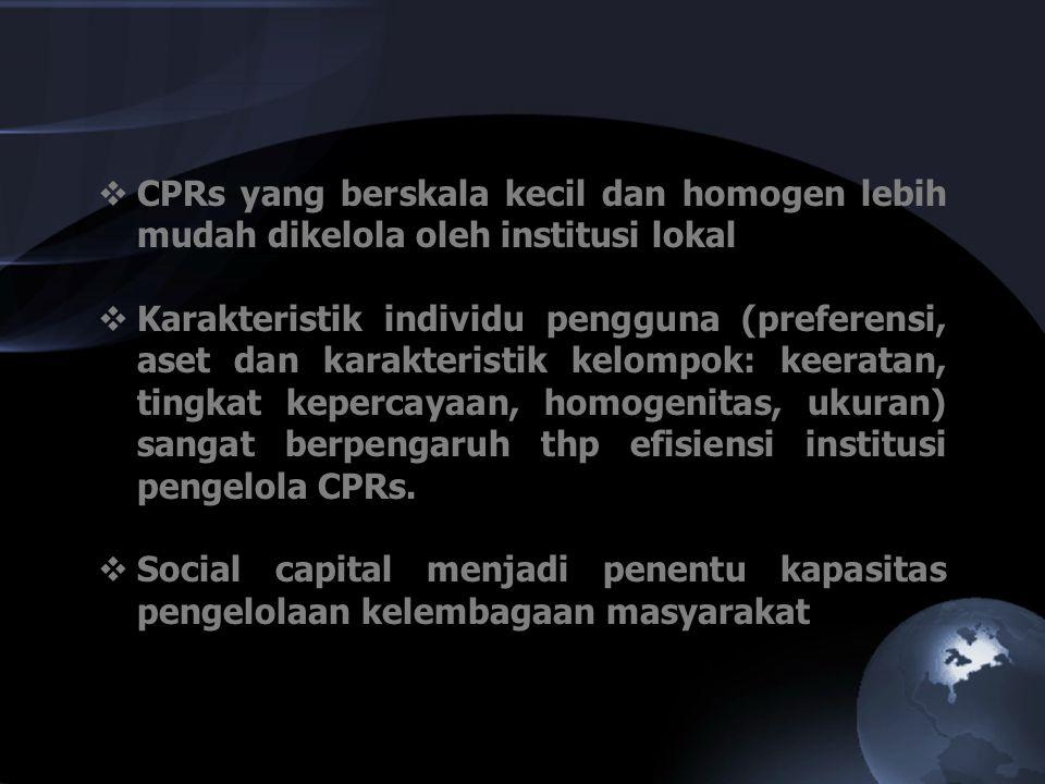 CPRs yang berskala kecil dan homogen lebih mudah dikelola oleh institusi lokal