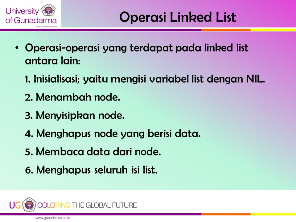 Operasi Linked List Operasi-operasi yang terdapat pada linked list antara lain: 1. Inisialisasi; yaitu mengisi variabel list dengan NIL.