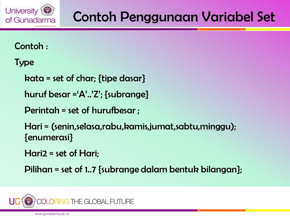 Contoh Penggunaan Variabel Set