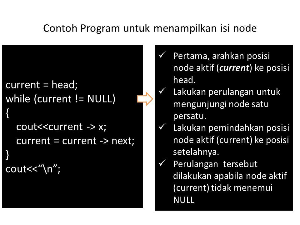 Contoh Program untuk menampilkan isi node