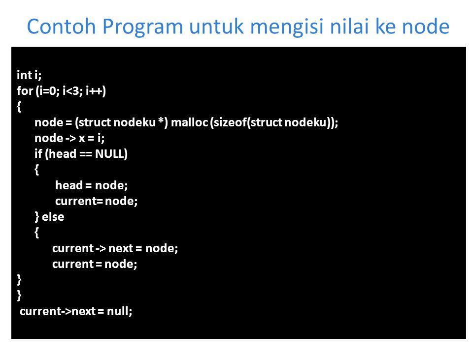 Contoh Program untuk mengisi nilai ke node