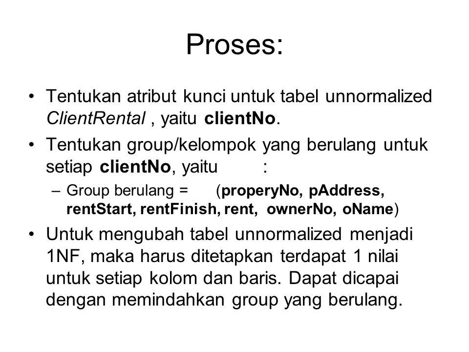 Proses: Tentukan atribut kunci untuk tabel unnormalized ClientRental , yaitu clientNo.