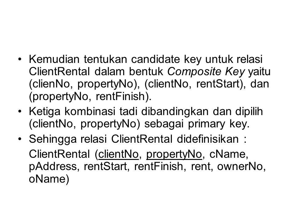 Kemudian tentukan candidate key untuk relasi ClientRental dalam bentuk Composite Key yaitu (clienNo, propertyNo), (clientNo, rentStart), dan (propertyNo, rentFinish).