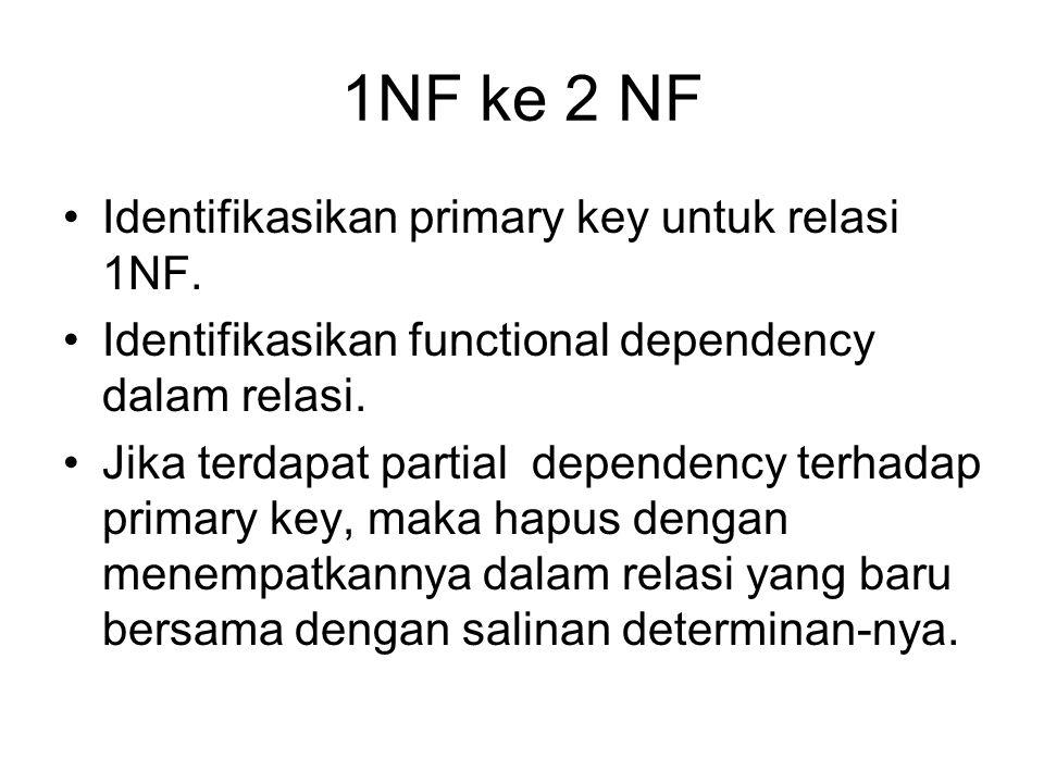 1NF ke 2 NF Identifikasikan primary key untuk relasi 1NF.