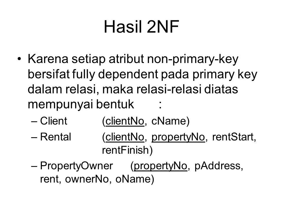 Hasil 2NF Karena setiap atribut non-primary-key bersifat fully dependent pada primary key dalam relasi, maka relasi-relasi diatas mempunyai bentuk :