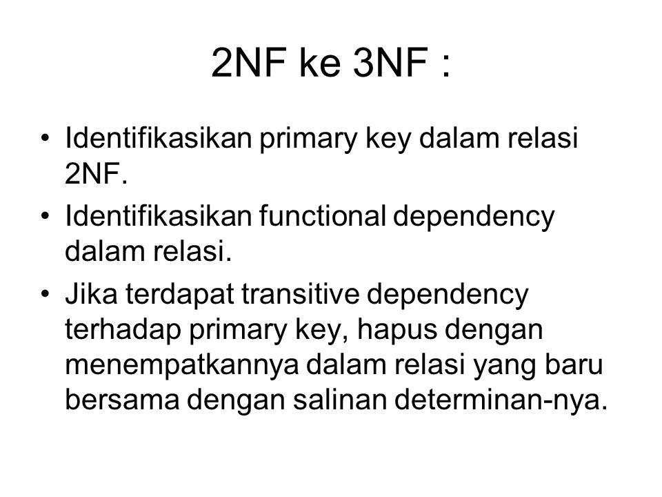 2NF ke 3NF : Identifikasikan primary key dalam relasi 2NF.