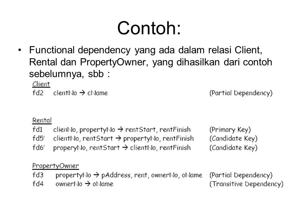 Contoh: Functional dependency yang ada dalam relasi Client, Rental dan PropertyOwner, yang dihasilkan dari contoh sebelumnya, sbb :