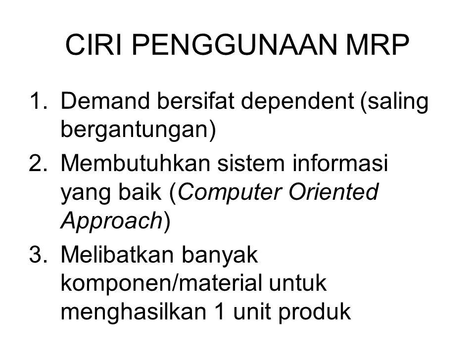 CIRI PENGGUNAAN MRP Demand bersifat dependent (saling bergantungan)
