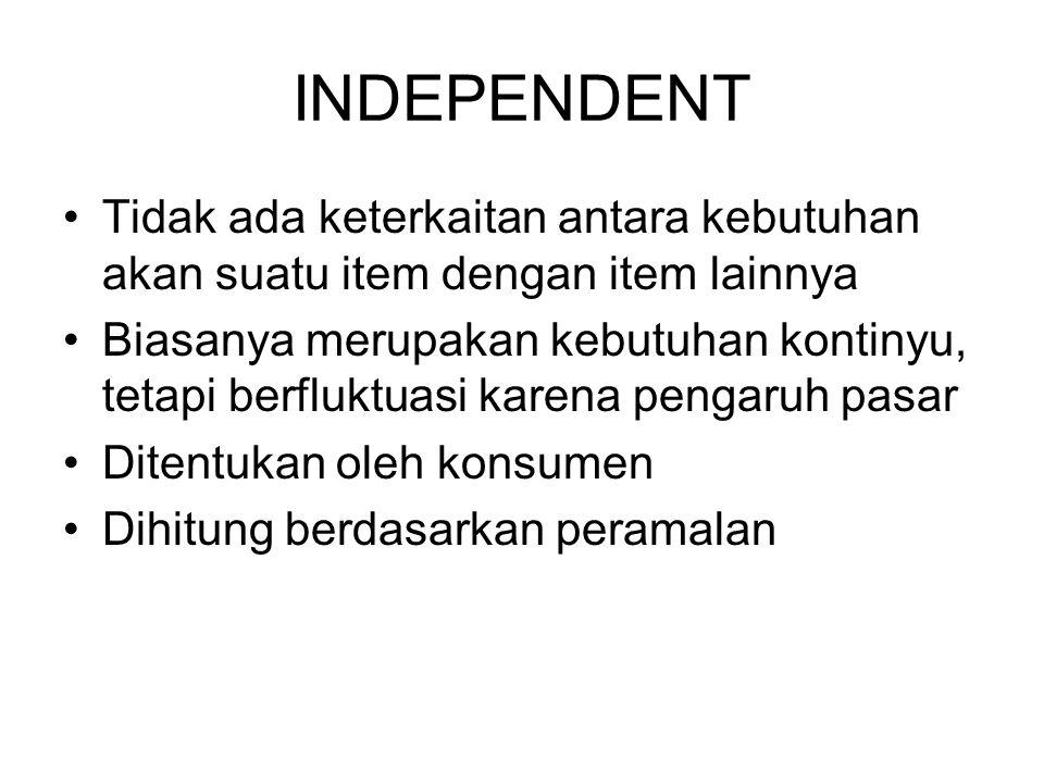 INDEPENDENT Tidak ada keterkaitan antara kebutuhan akan suatu item dengan item lainnya.