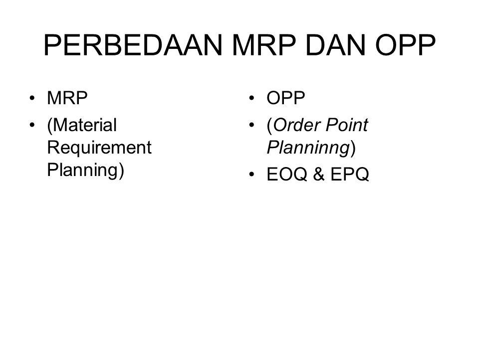 PERBEDAAN MRP DAN OPP MRP (Material Requirement Planning) OPP