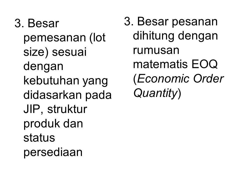 3. Besar pesanan dihitung dengan rumusan matematis EOQ (Economic Order Quantity)