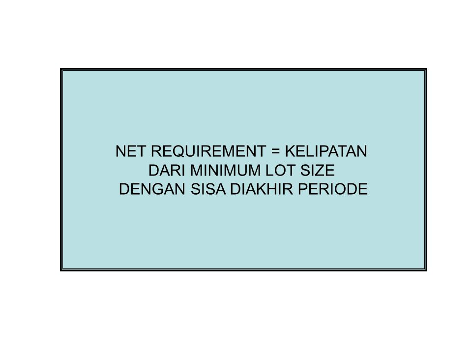 NET REQUIREMENT = KELIPATAN DARI MINIMUM LOT SIZE
