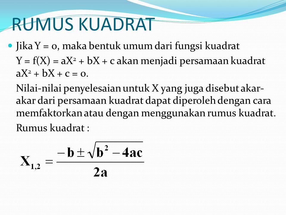 RUMUS KUADRAT Jika Y = 0, maka bentuk umum dari fungsi kuadrat