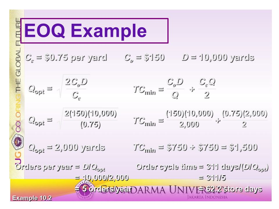 EOQ Example Cc = $0.75 per yard Co = $150 D = 10,000 yards Qopt = 2CoD