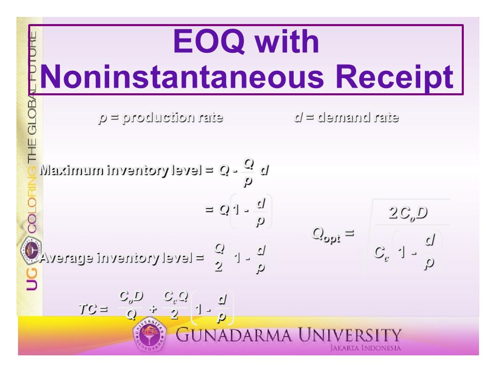 EOQ with Noninstantaneous Receipt