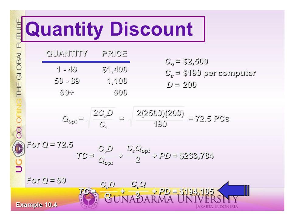 Quantity Discount QUANTITY PRICE 1 - 49 $1,400 50 - 89 1,100 90+ 900