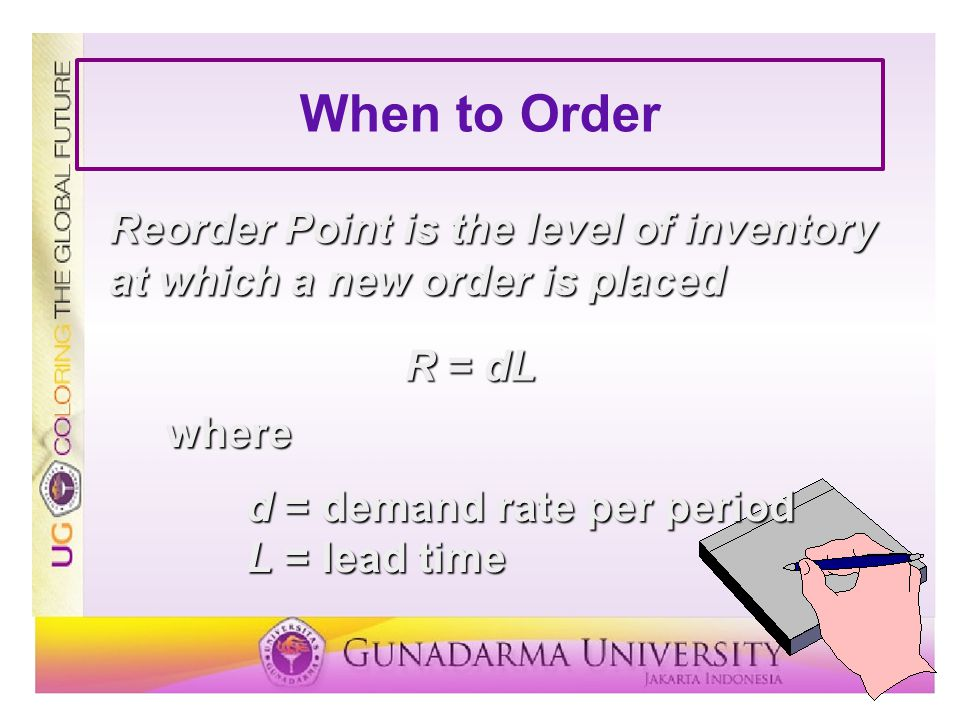 When to Order Reorder Point is the level of inventory at which a new order is placed. R = dL. where.