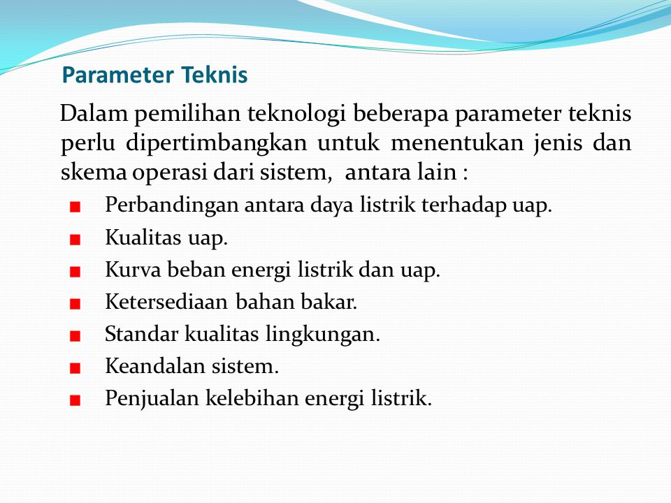 Parameter Teknis