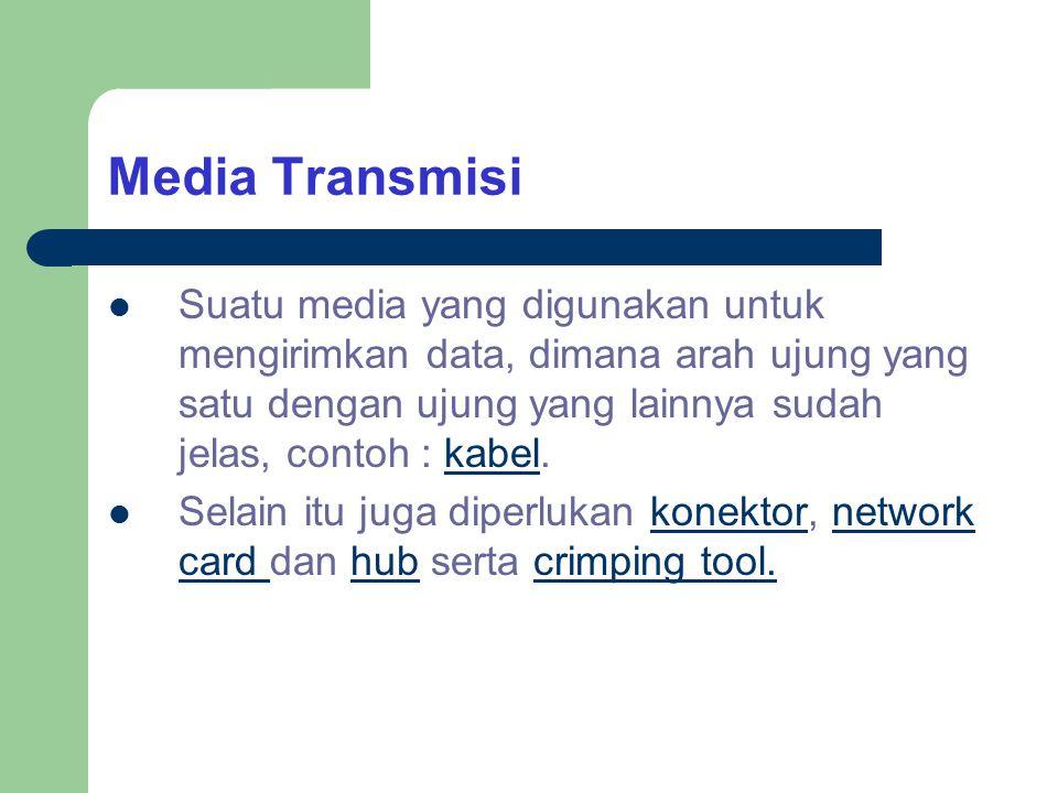Media Transmisi Suatu media yang digunakan untuk mengirimkan data, dimana arah ujung yang satu dengan ujung yang lainnya sudah jelas, contoh : kabel.
