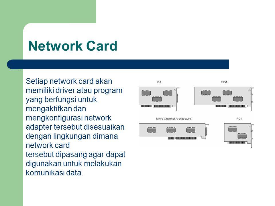 Network Card Setiap network card akan memiliki driver atau program yang berfungsi untuk mengaktifkan dan.