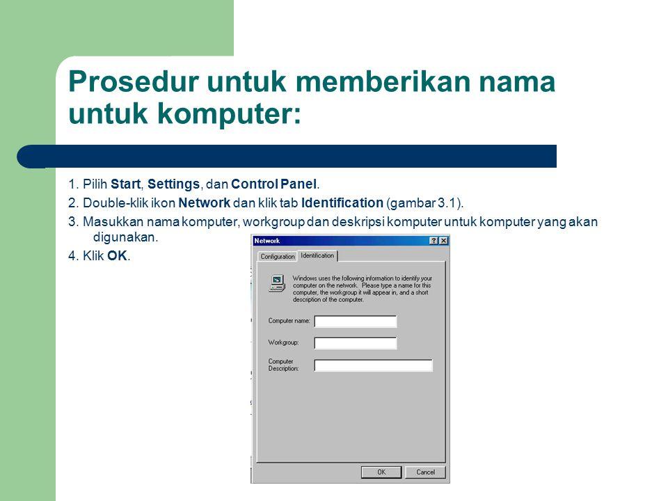 Prosedur untuk memberikan nama untuk komputer: