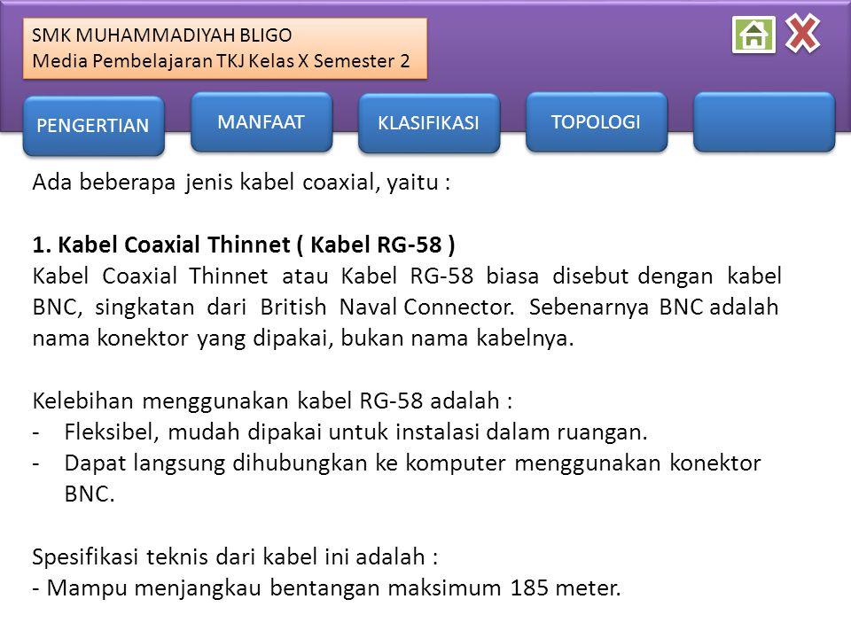 Ada beberapa jenis kabel coaxial, yaitu :