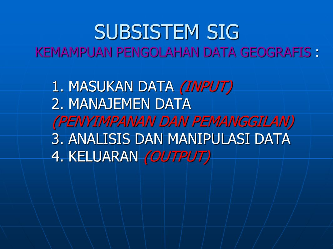 SUBSISTEM SIG 1. MASUKAN DATA (INPUT) 2. MANAJEMEN DATA