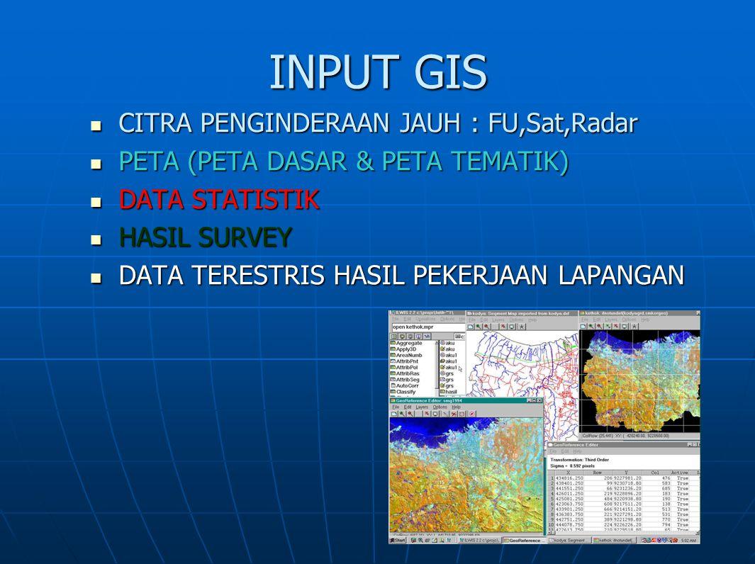INPUT GIS CITRA PENGINDERAAN JAUH : FU,Sat,Radar