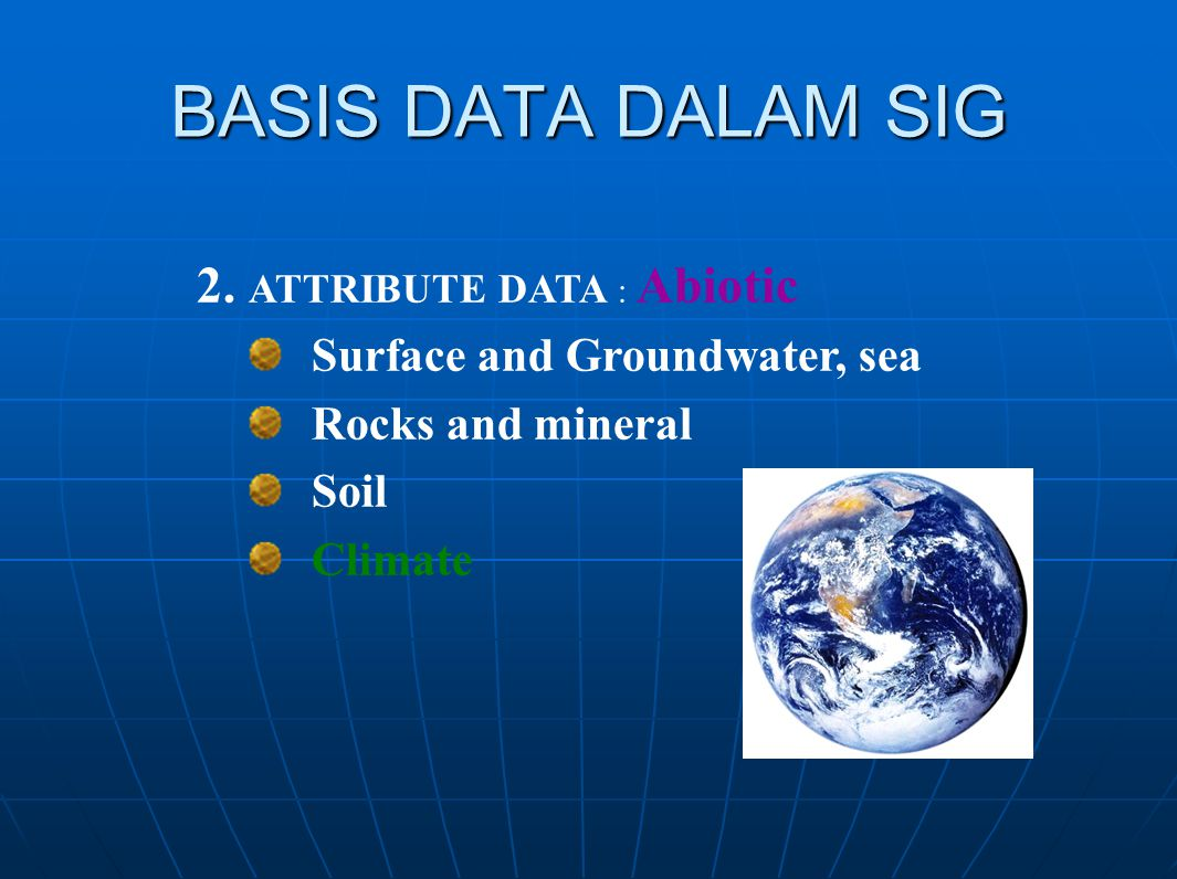 BASIS DATA DALAM SIG 2. ATTRIBUTE DATA : Abiotic