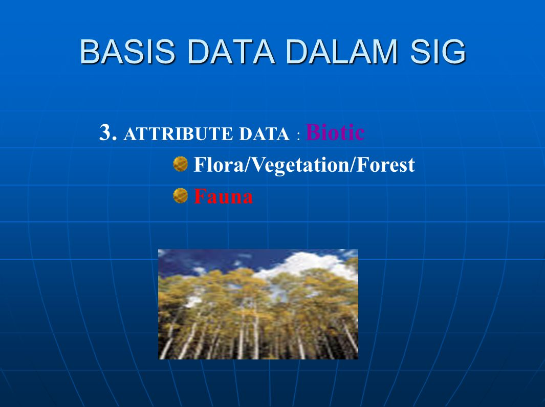 BASIS DATA DALAM SIG 3. ATTRIBUTE DATA : Biotic