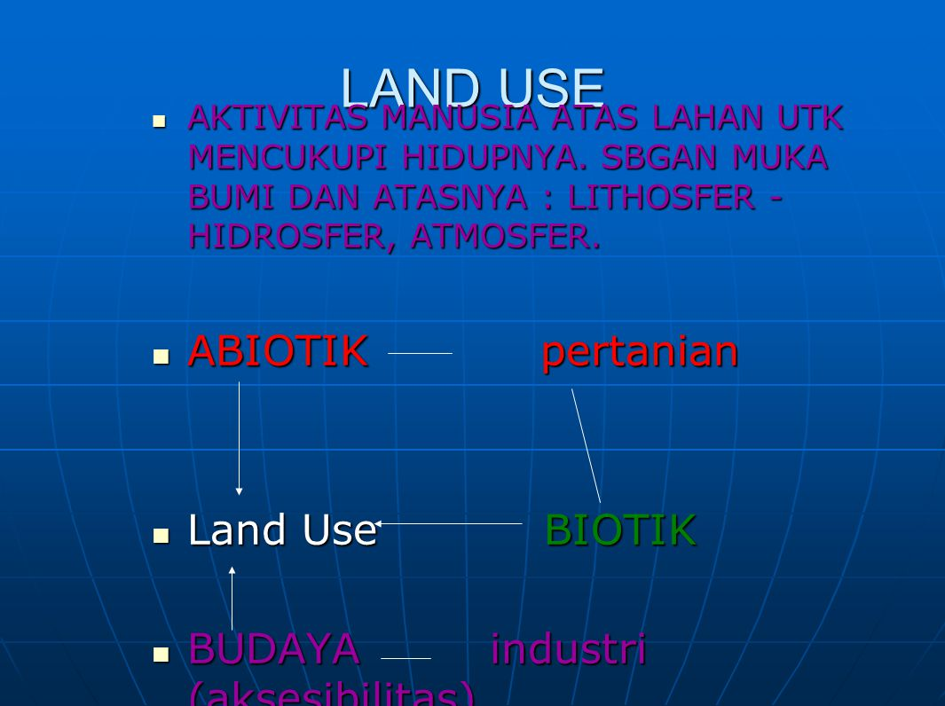LAND USE ABIOTIK pertanian Land Use BIOTIK