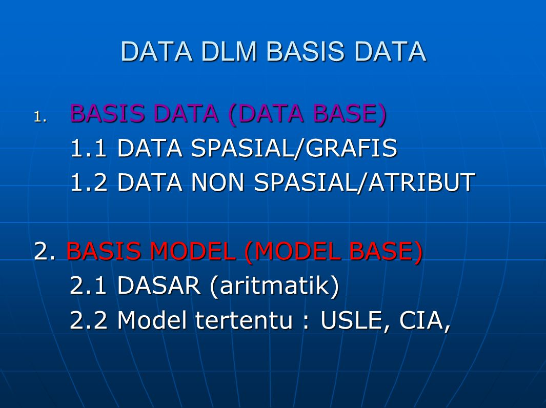 DATA DLM BASIS DATA BASIS DATA (DATA BASE) 1.1 DATA SPASIAL/GRAFIS