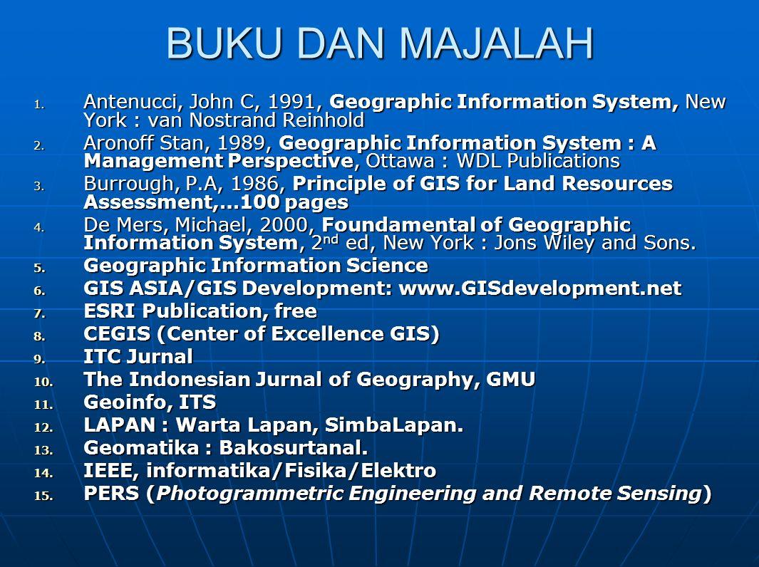 BUKU DAN MAJALAH Antenucci, John C, 1991, Geographic Information System, New York : van Nostrand Reinhold.