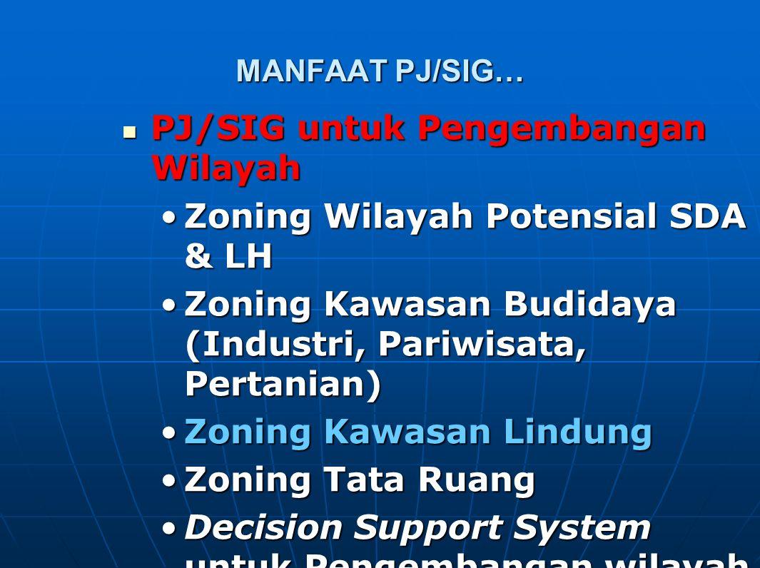 PJ/SIG untuk Pengembangan Wilayah Zoning Wilayah Potensial SDA & LH