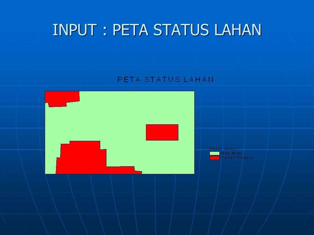INPUT : PETA STATUS LAHAN