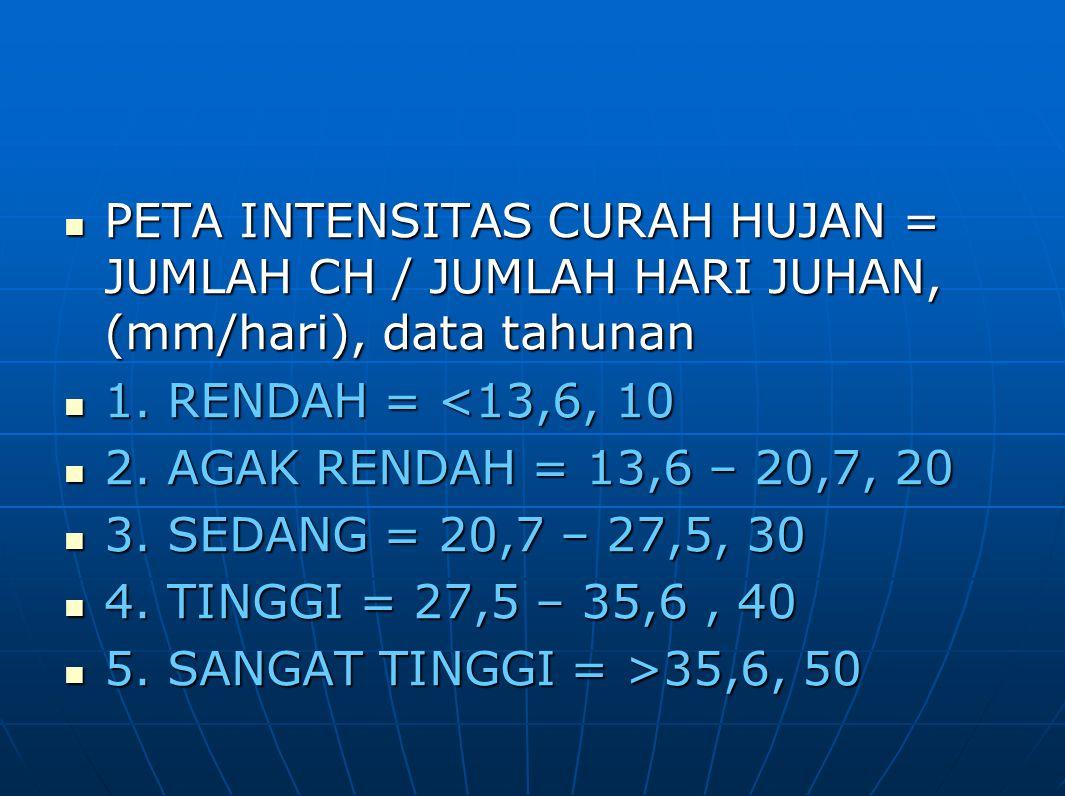 PETA INTENSITAS CURAH HUJAN = JUMLAH CH / JUMLAH HARI JUHAN, (mm/hari), data tahunan