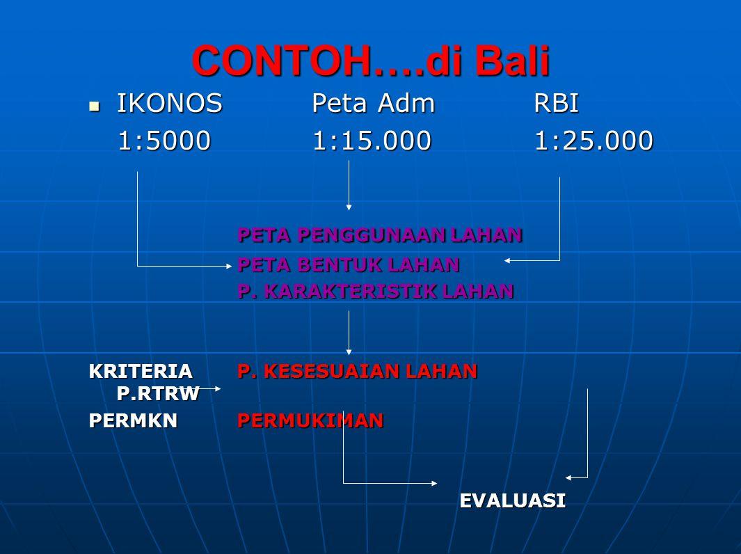 CONTOH….di Bali PETA PENGGUNAAN LAHAN IKONOS Peta Adm RBI