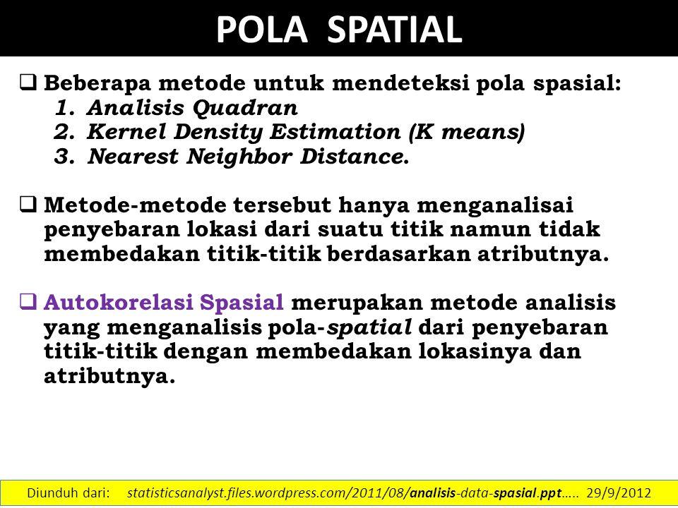 POLA SPATIAL Beberapa metode untuk mendeteksi pola spasial: