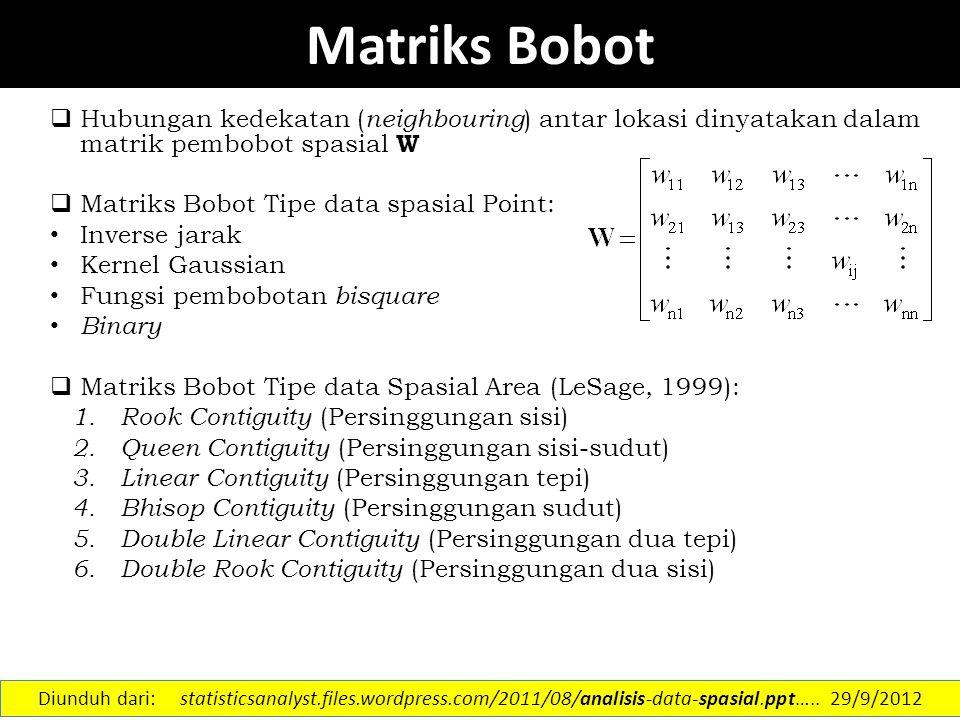 Matriks Bobot Hubungan kedekatan (neighbouring) antar lokasi dinyatakan dalam matrik pembobot spasial W.