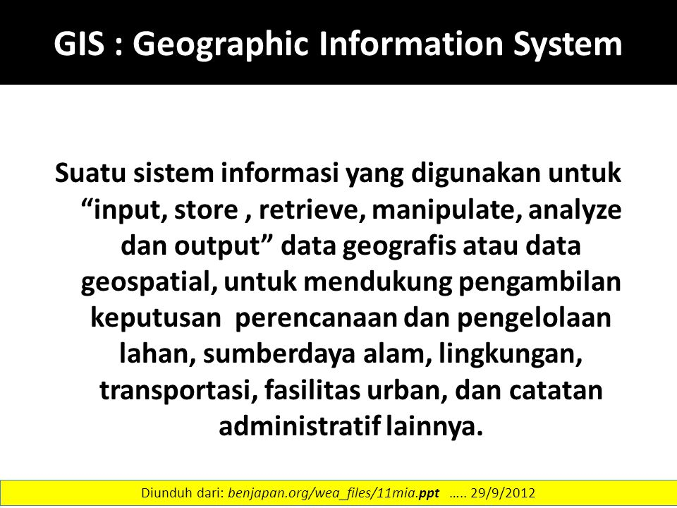 GIS : Geographic Information System