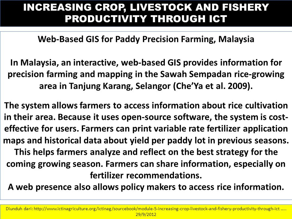 INCREASING CROP, LIVESTOCK AND FISHERY PRODUCTIVITY THROUGH ICT