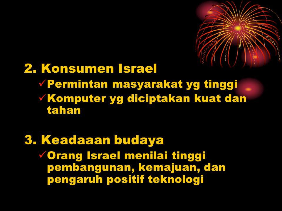2. Konsumen Israel 3. Keadaaan budaya Permintan masyarakat yg tinggi