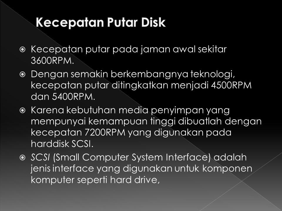 Kecepatan Putar Disk Kecepatan putar pada jaman awal sekitar 3600RPM.