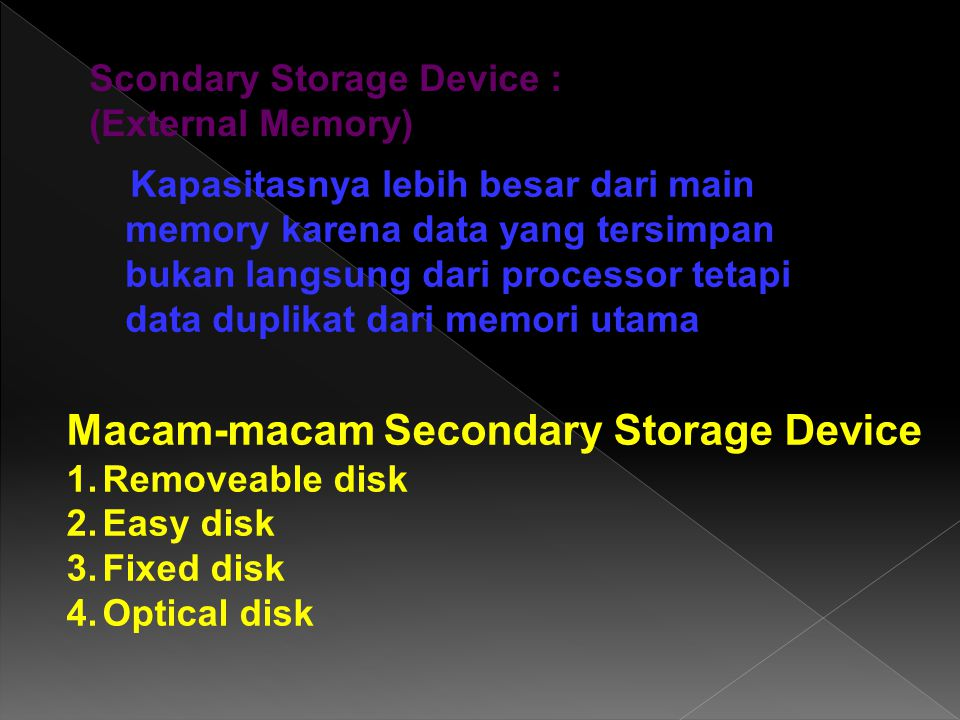 Macam-macam Secondary Storage Device
