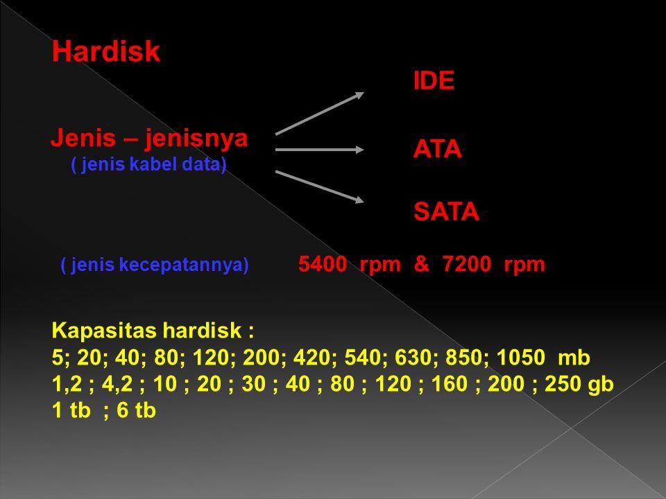 Hardisk IDE Jenis – jenisnya ATA SATA 5400 rpm & 7200 rpm