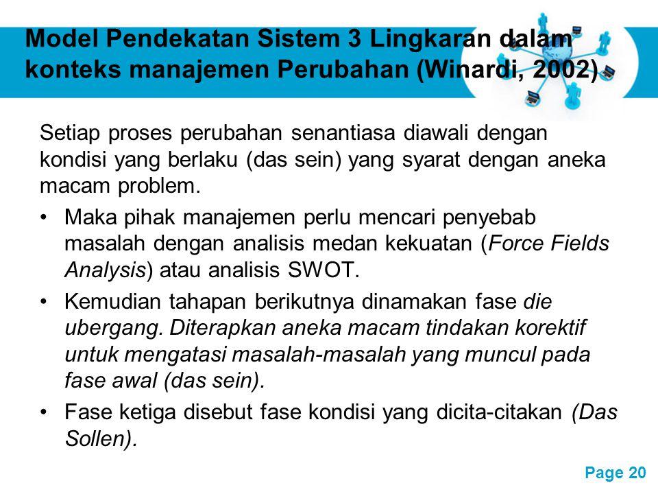 Model Pendekatan Sistem 3 Lingkaran dalam konteks manajemen Perubahan (Winardi, 2002)