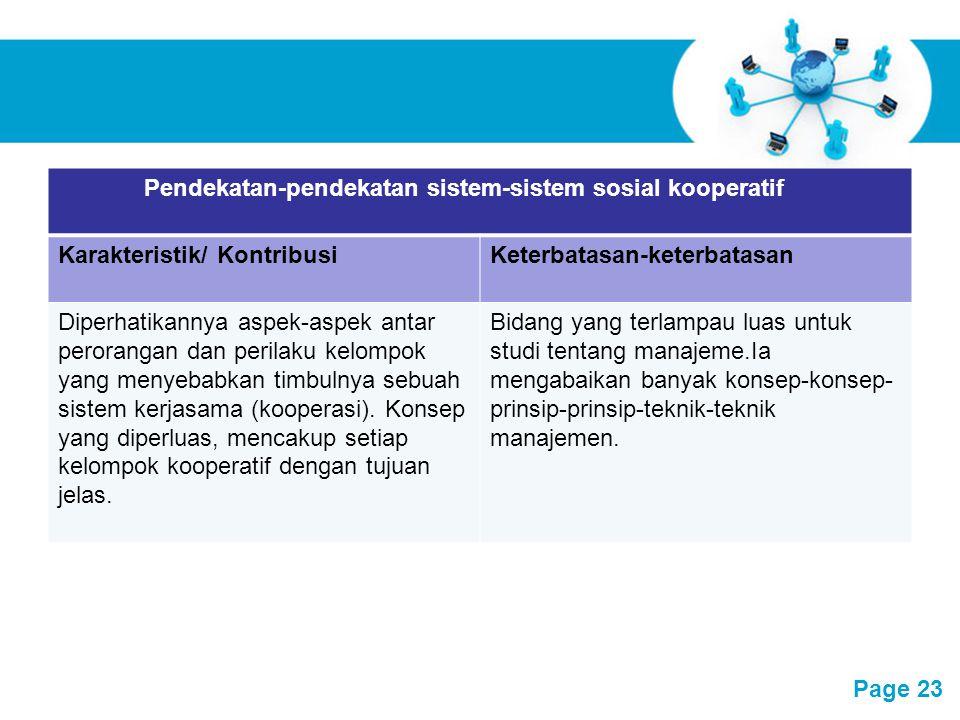 Pendekatan-pendekatan sistem-sistem sosial kooperatif